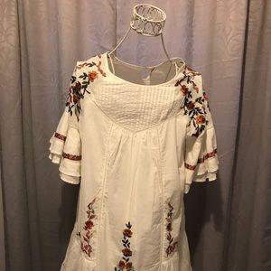 Free people,  Short sleeve white dress